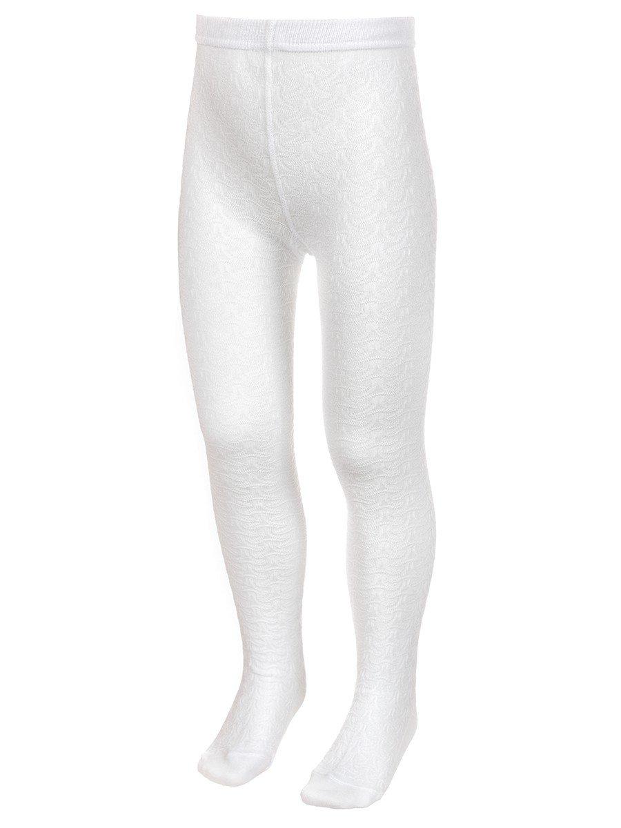 Колготки для девочки с рельефным переплетением, цвет: белый
