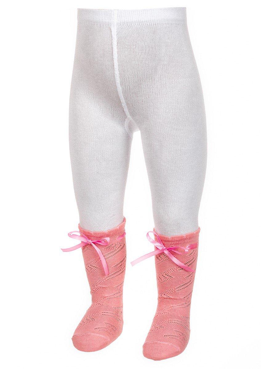 Ажурные колготки для девочки с имитацией гольфов и декоративной ленточкой, цвет: персиковый