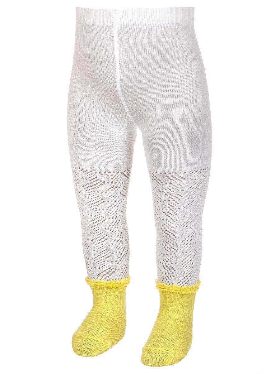 Ажурные колготки для девочки с имитацией носочков, цвет: розовый