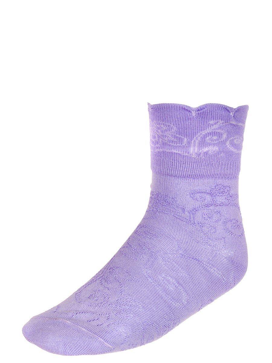 Носки для девочки с отложным бортиком, цвет: сиреневый
