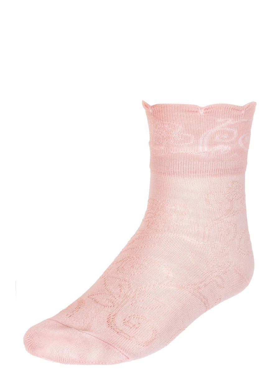 Носки для девочки с отложным бортиком, цвет: персиковый