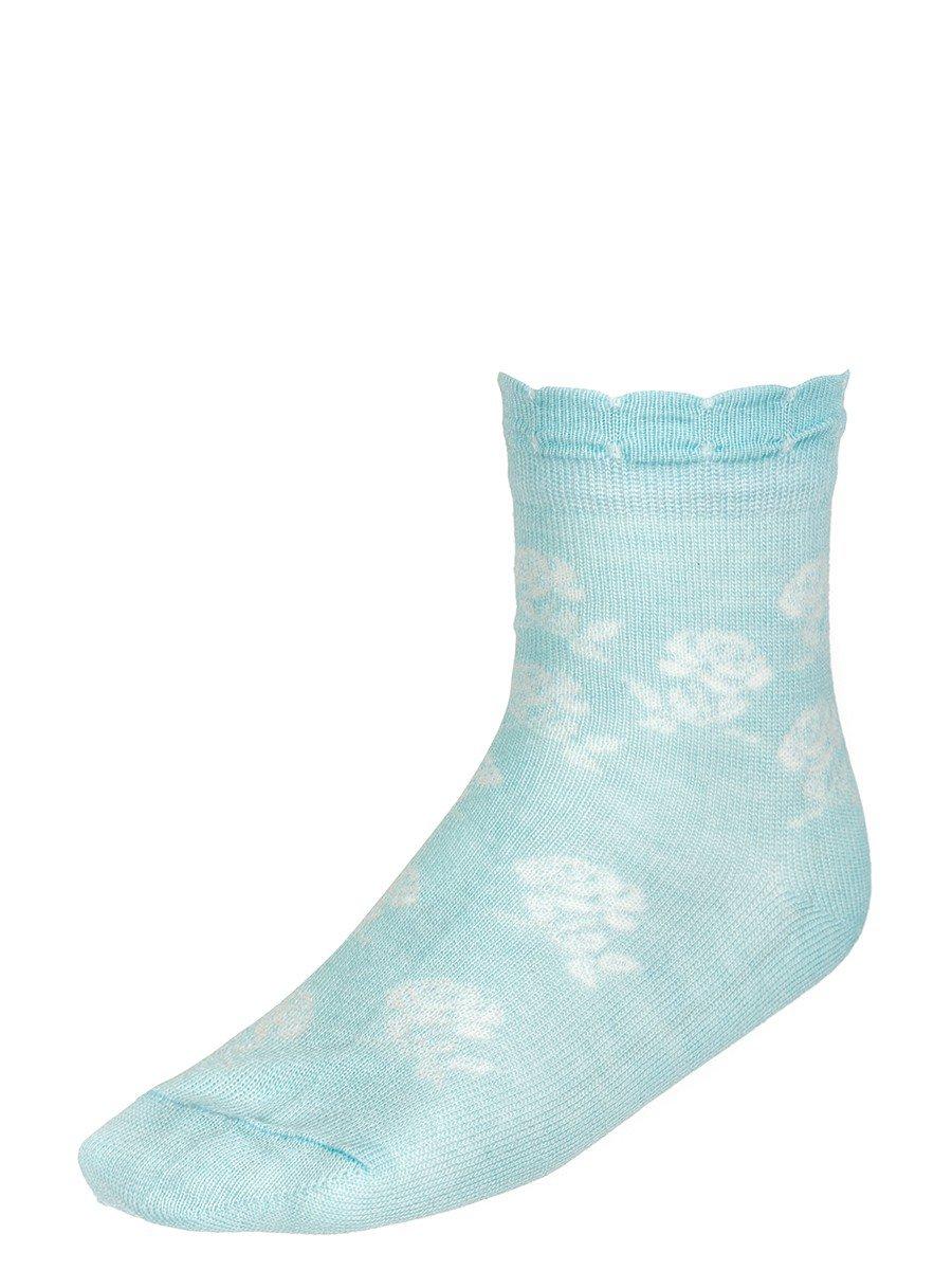 Ажурные носки для девочки из бамбука, цвет: бирюзовый