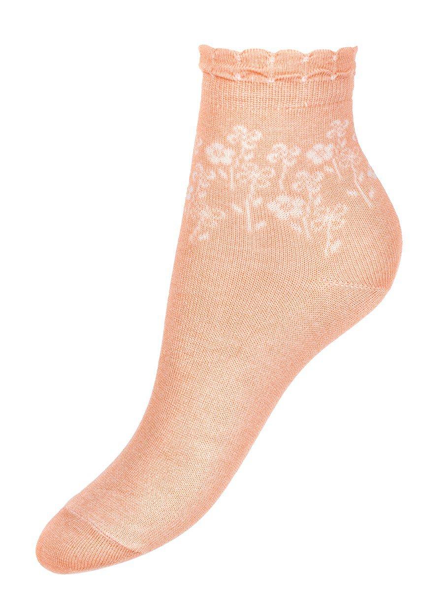 Ажурные носки для девочки из бамбука, цвет: персиковый