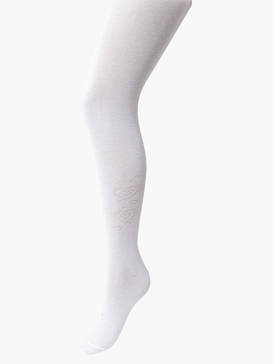 Колготки  для девочки школьного формата, с небольшим рисунком, цвет: белый
