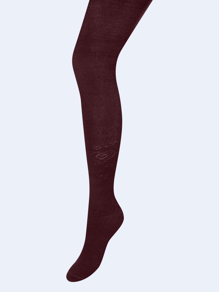 Колготки  для девочки школьного формата, с небольшим рисунком, цвет: бордовый