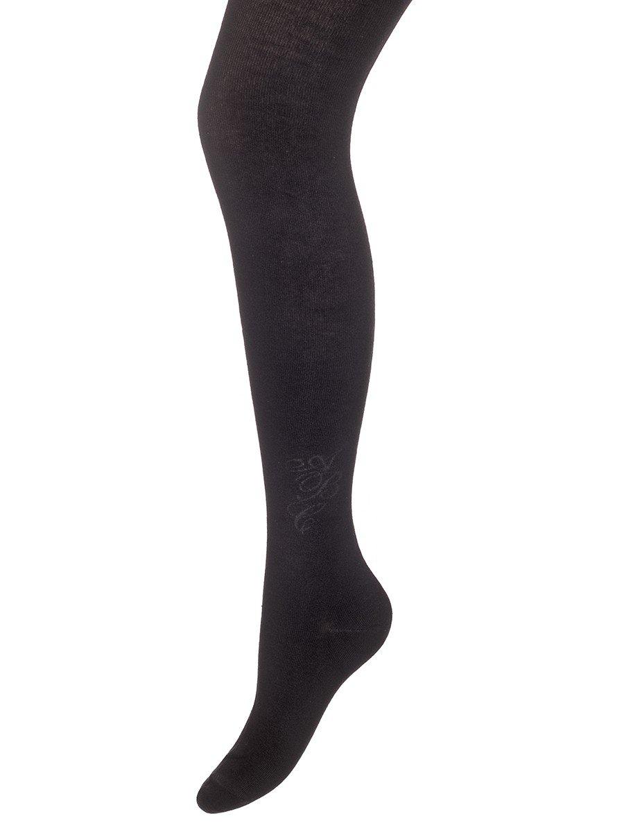 Колготки  для девочки школьного формата, с небольшим рисунком, цвет: черный