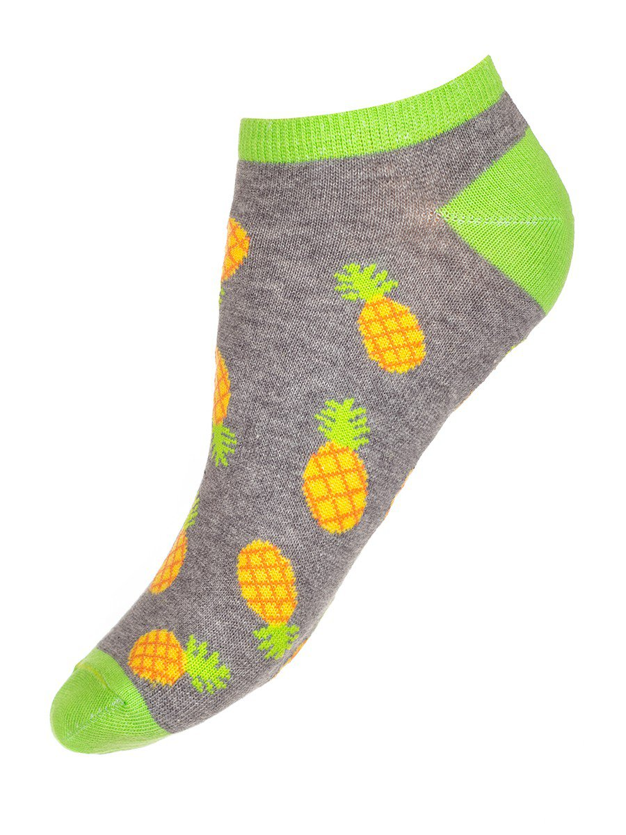 Носки для девочки с фруктовым рисунком, цвет: серый меланж