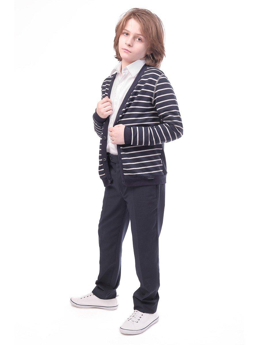 Кардиган прямого силуэта для мальчика, цвет: темно-синий