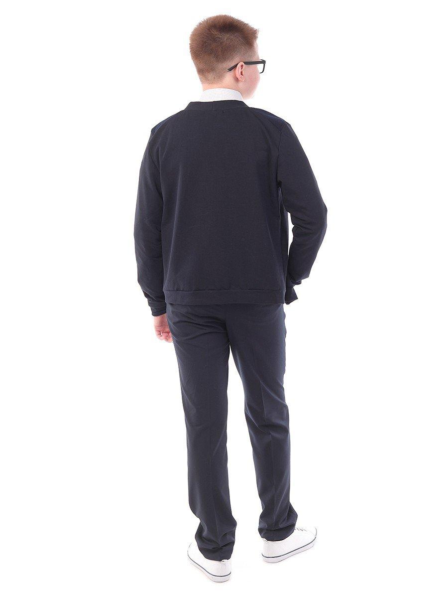 Брюки текстильные для мальчика прямого силуэта для полных, цвет: темно-синий