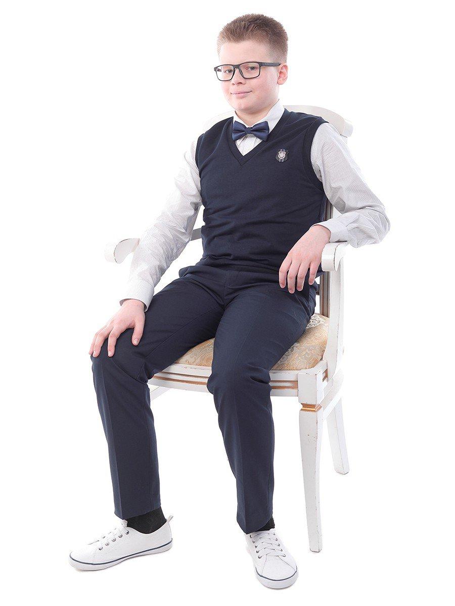 Брюки текстильные для мальчика прямого силуэта для полных