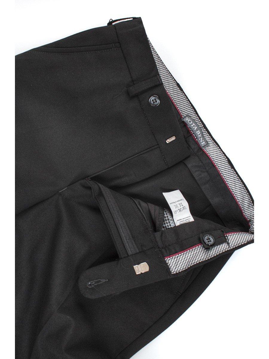 Брюки текстильные для мальчика прямого силуэта для полных, цвет: черный
