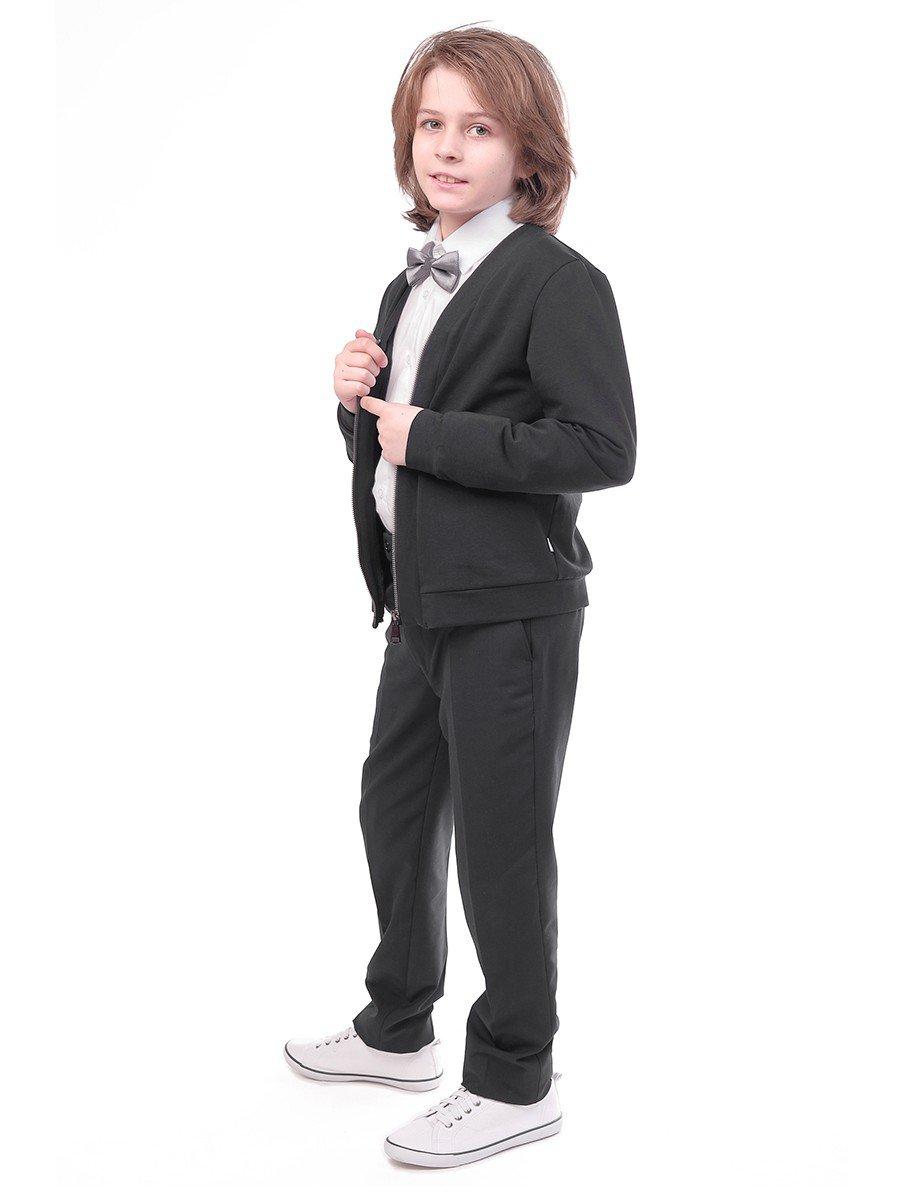 Брюки текстильные для мальчика зауженные к низу, цвет: черный