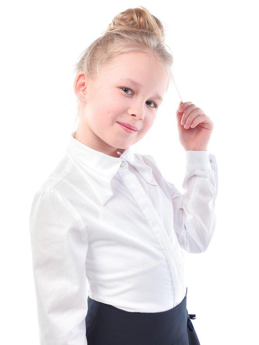 Блузка приталенного силуэта, цвет: белый