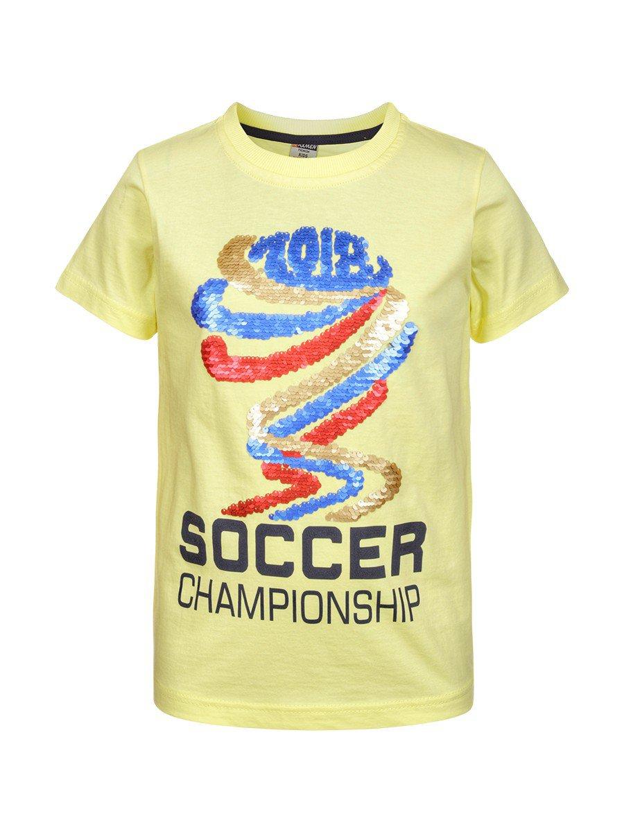 Футболка для мальчика декорирована двусторонними пайетками, цвет: желтый