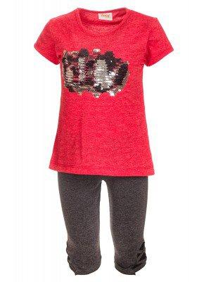 Комплект для девочки: туника и бриджи, декорирован двусторонними пайетками