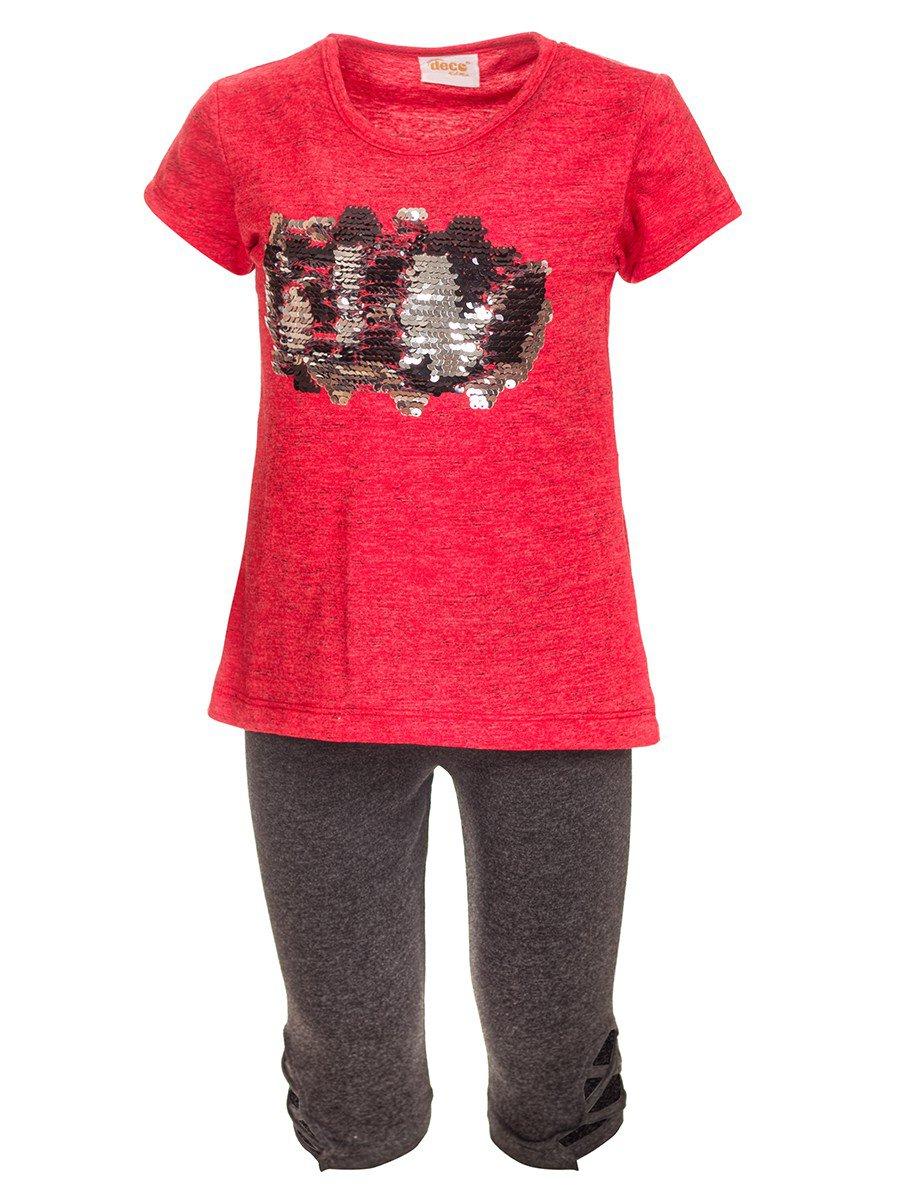 Комплект для девочки:туника и бриджи, цвет: красный