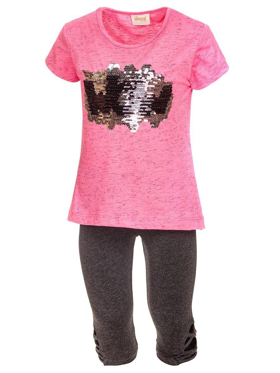 Комплект для девочки:туника и бриджи, цвет: розовый
