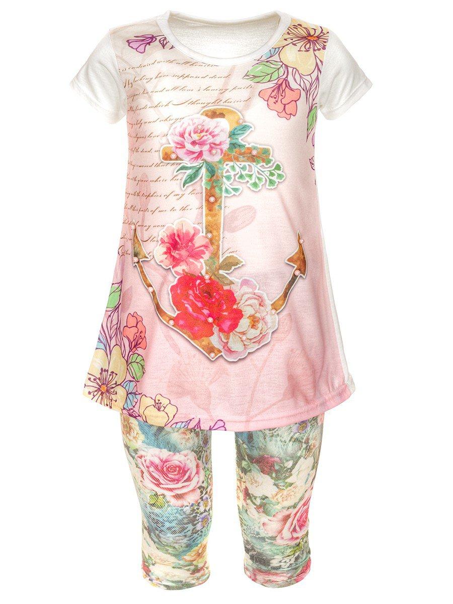 Комплект для девочки: туника и капри, цвет: светло-розовый