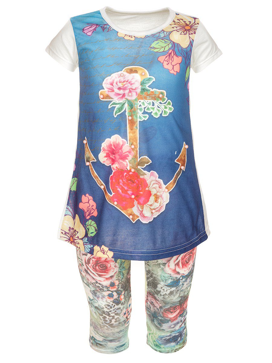 Комплект для девочки: туника и капри, цвет: деним