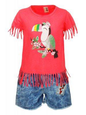 Комплект для девочки:футболка и джинсовые шорты