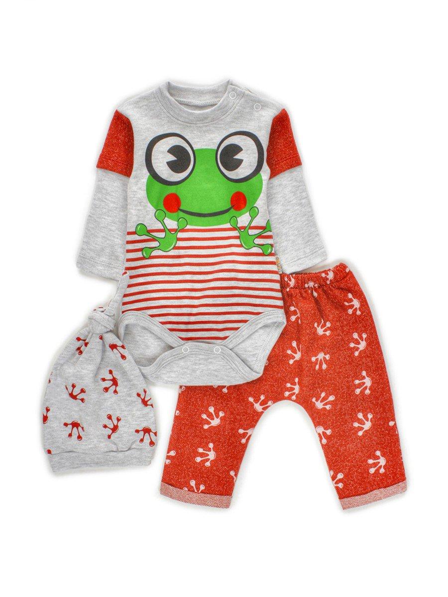 Комплект для мальчика: боди, штанишки и шапочка, цвет: красный