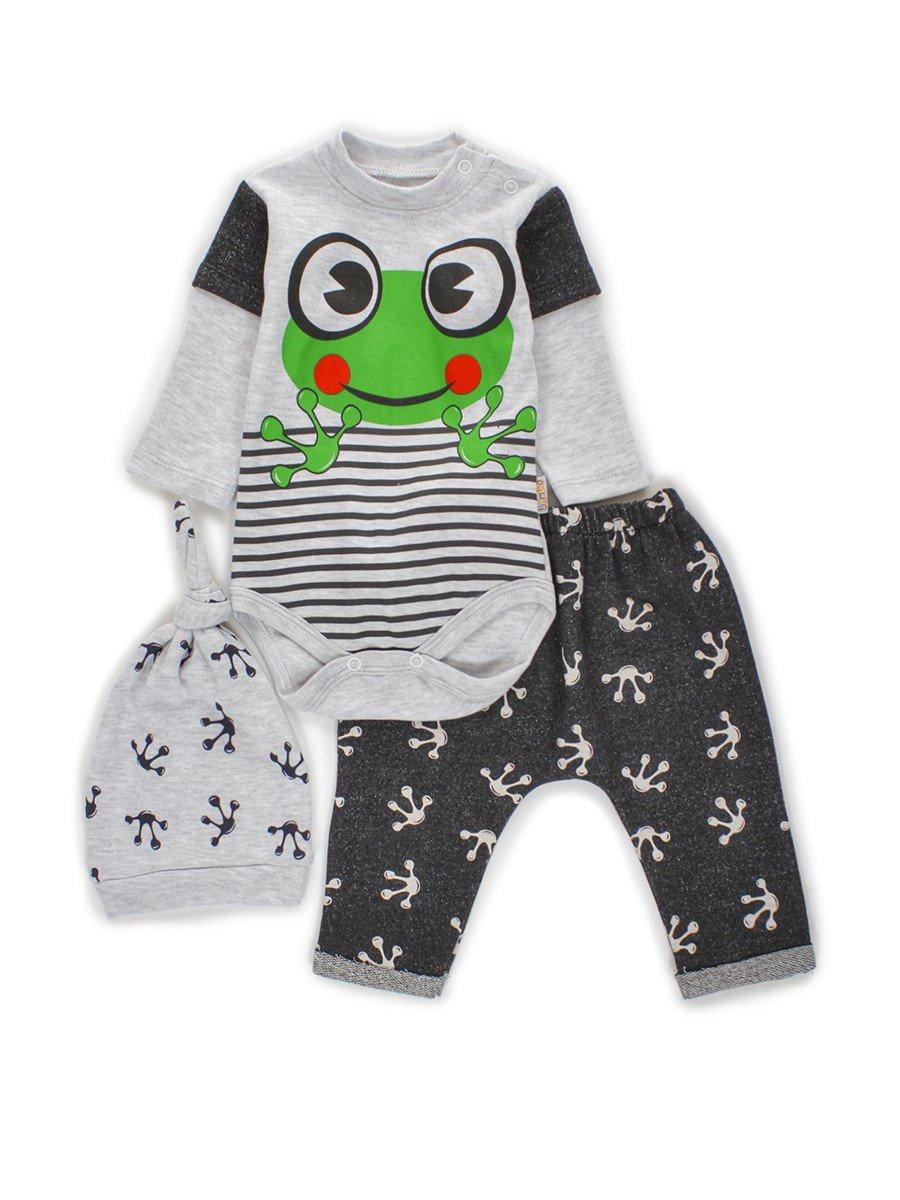 Комплект для мальчика: боди, штанишки и шапочка, цвет: темно-синий