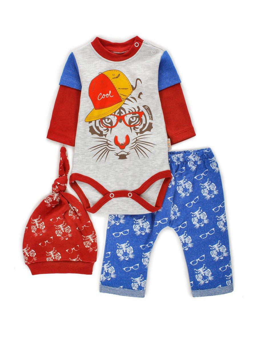 Комплект для мальчика: боди, штанишки и шапочка, цвет: синий
