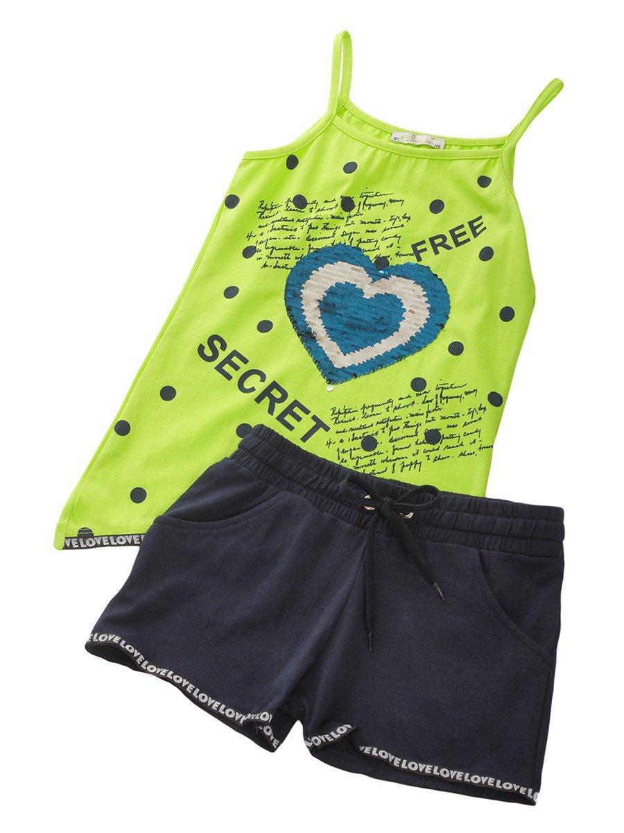Комплект для девочки: топ и шорты, цвет: салатовый