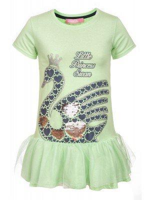 Платье для девочки декорировано двусторонними пайетками и сеткой