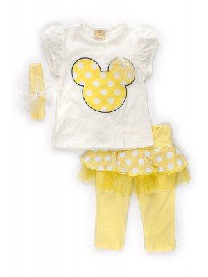 Комплект для девочки: футболка, капри с юбочкой и повязка на голову