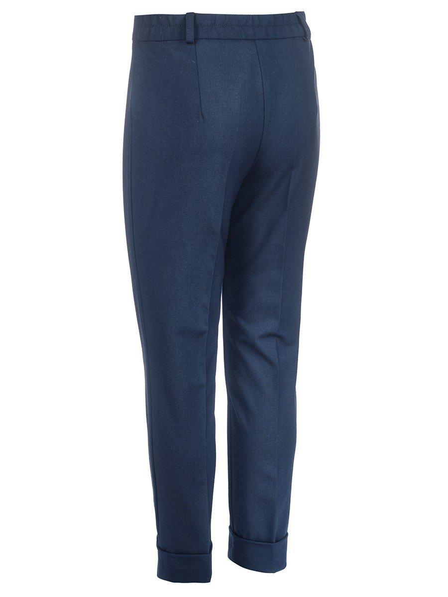 Брюки для девочки текстильные зауженные к низу, цвет: темно-синий