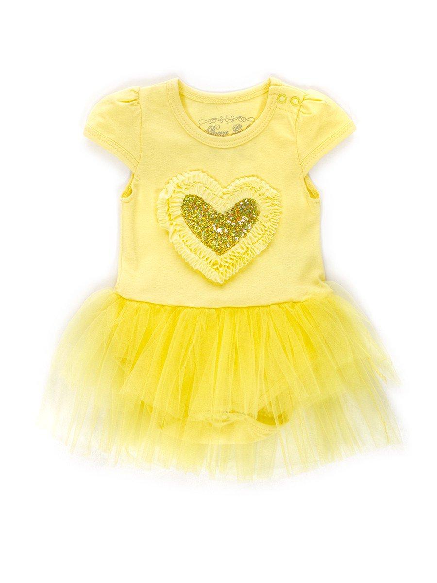 Боди с юбочкой из сетки для девочки отделка пайетки, цвет: лимонный