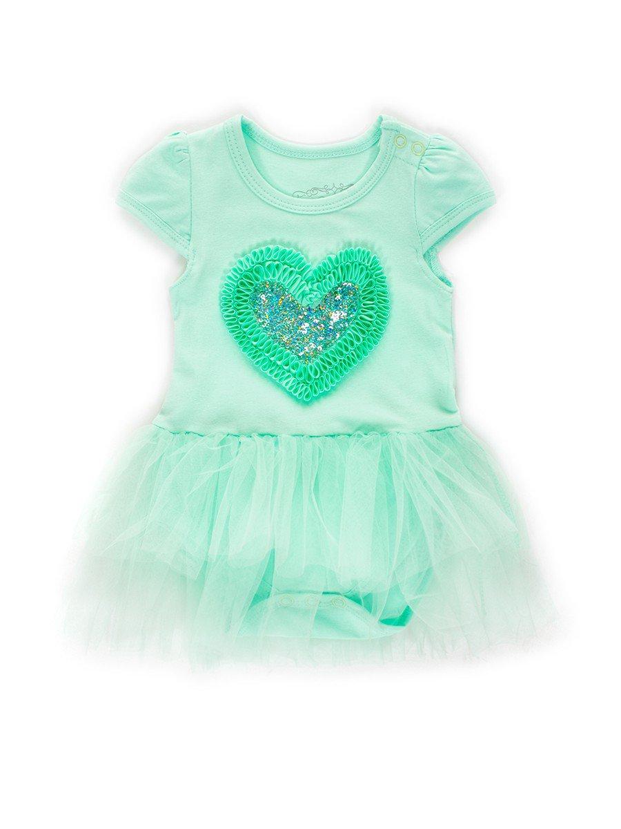 Боди с юбочкой из сетки для девочки отделка пайетки, цвет: мятный