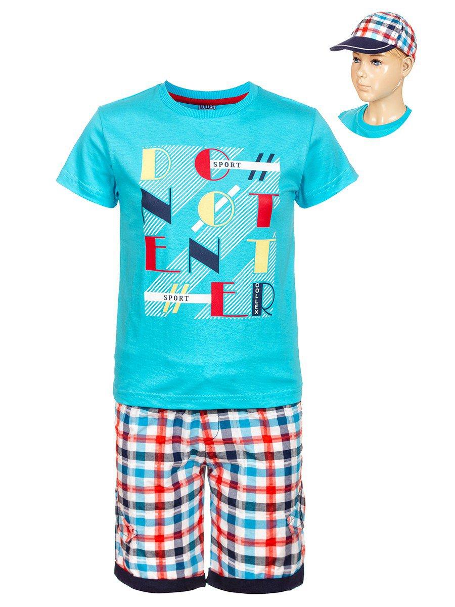 Комплект для мальчика: футболка , шорты и кепка, цвет: бирюзовый