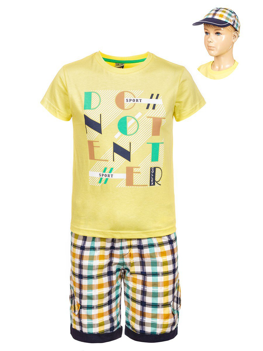 Комплект для мальчика: футболка , шорты и кепка, цвет: желтый