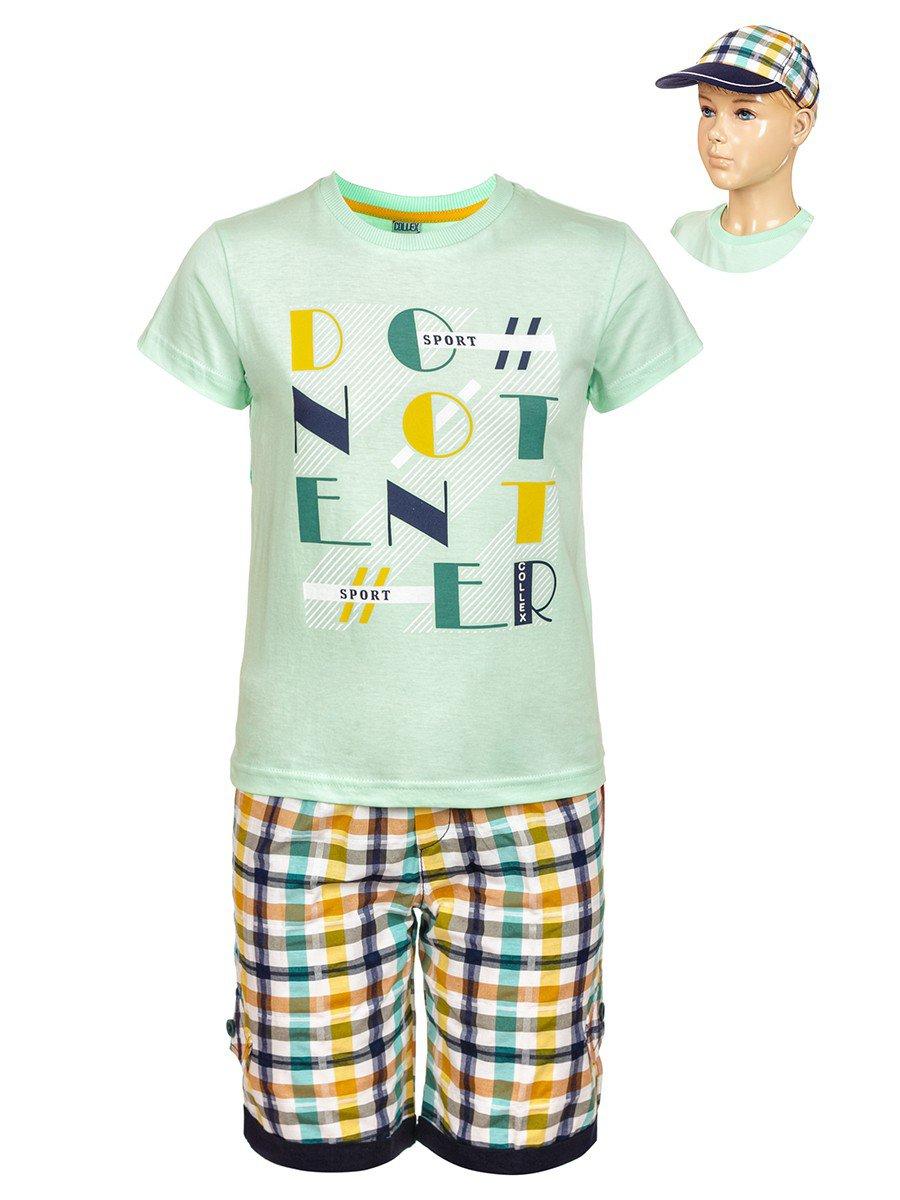 Комплект для мальчика: футболка , шорты и кепка, цвет: мятный