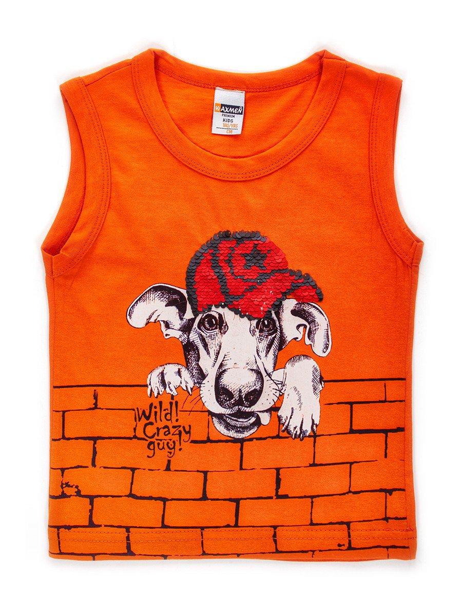 Майка для мальчика декорирована двусторонними пайетками, цвет: оранжевый