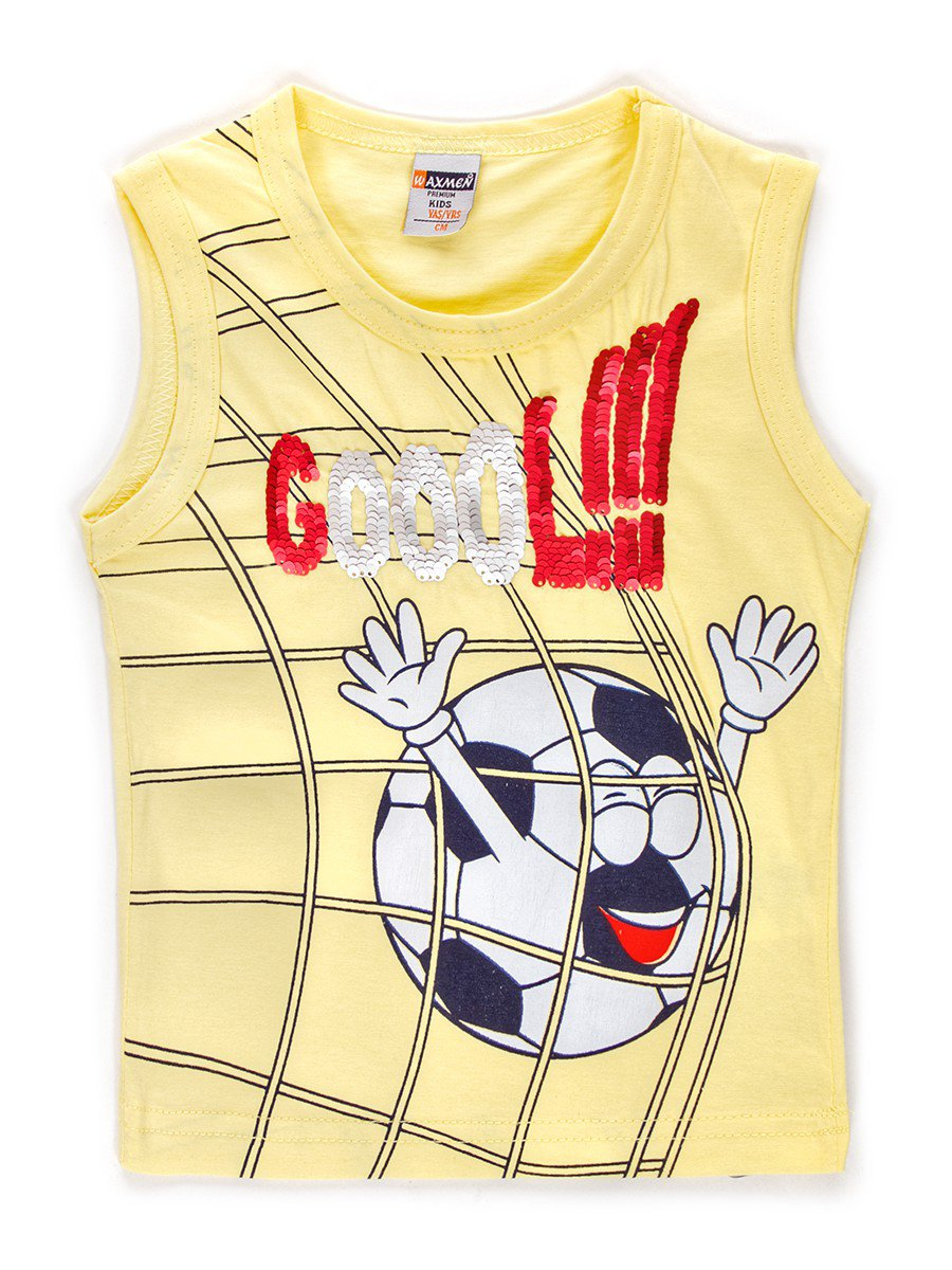 Майка для мальчика декорирована двусторонними пайетками, цвет: желтый