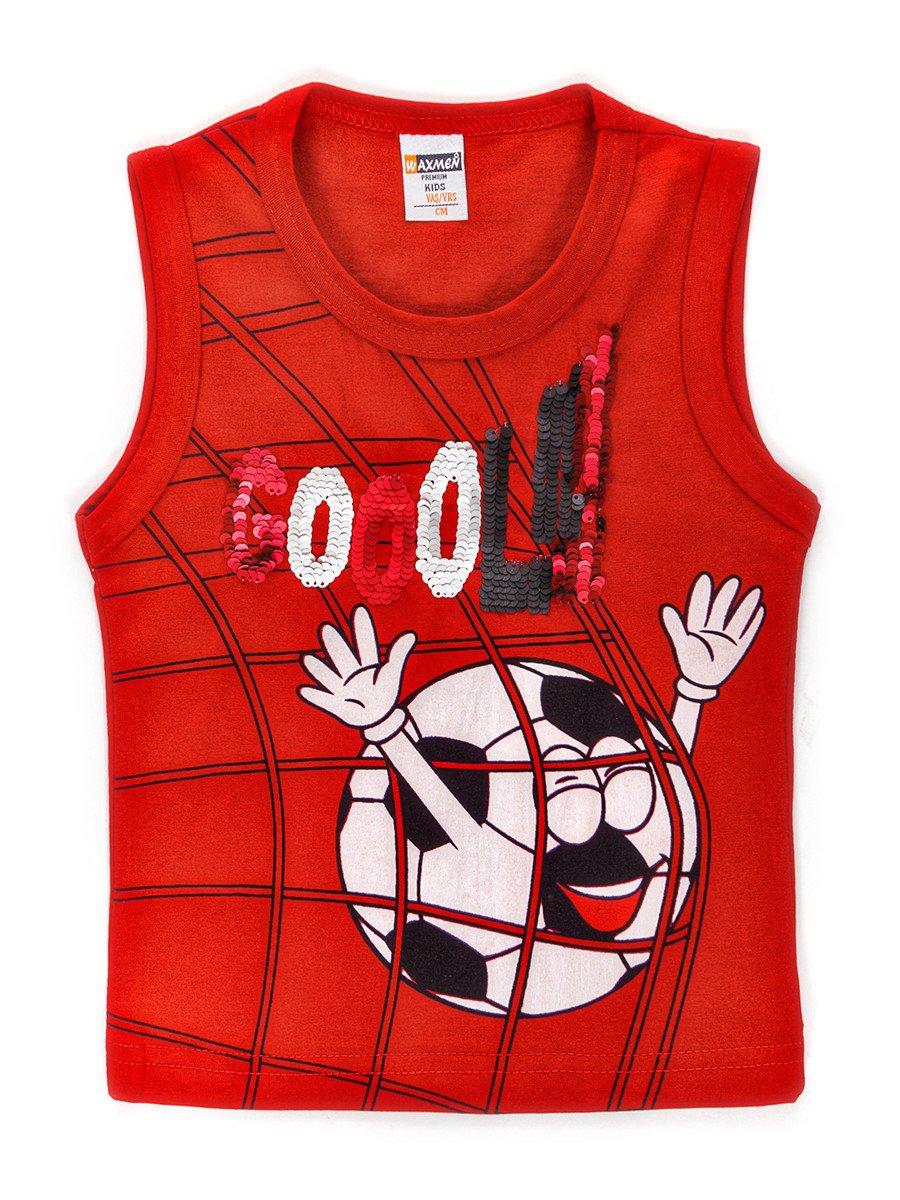 Майка для мальчика декорирована двусторонними пайетками, цвет: красный