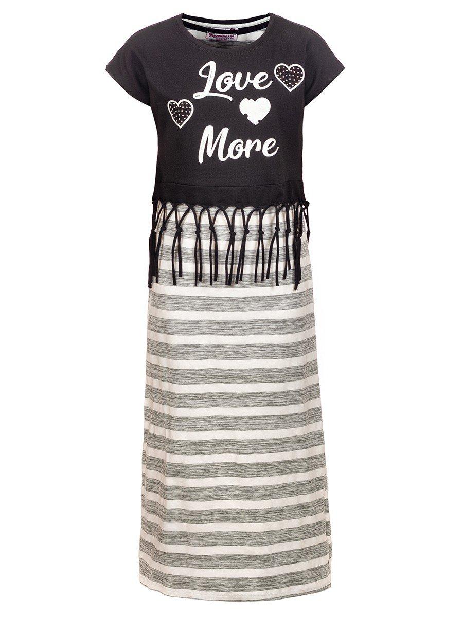 Комплект для девочки: сарафан и топ, цвет: черный