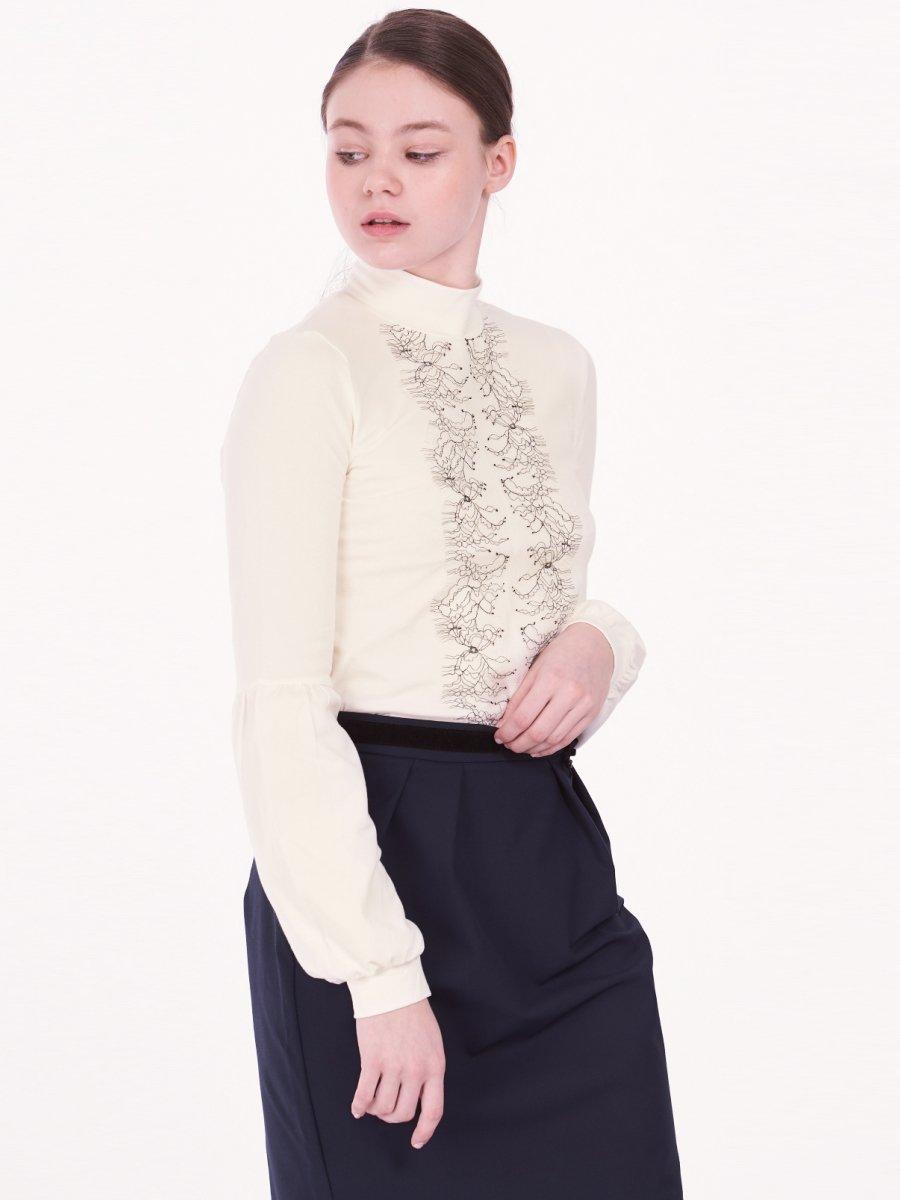 Блузка трикотажная для девочки, цвет: молочный