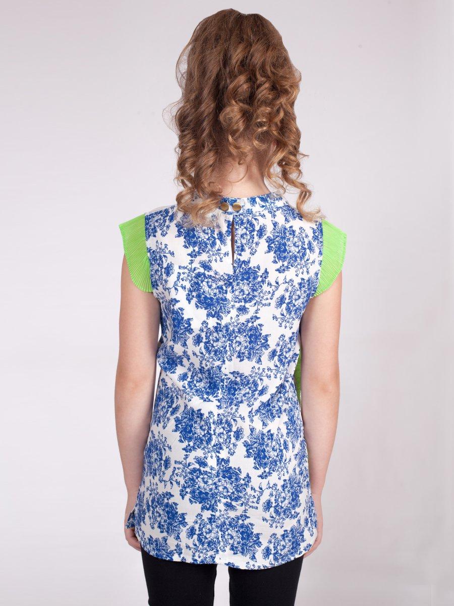 Блузка прямого силуэта, цвет: салатовый