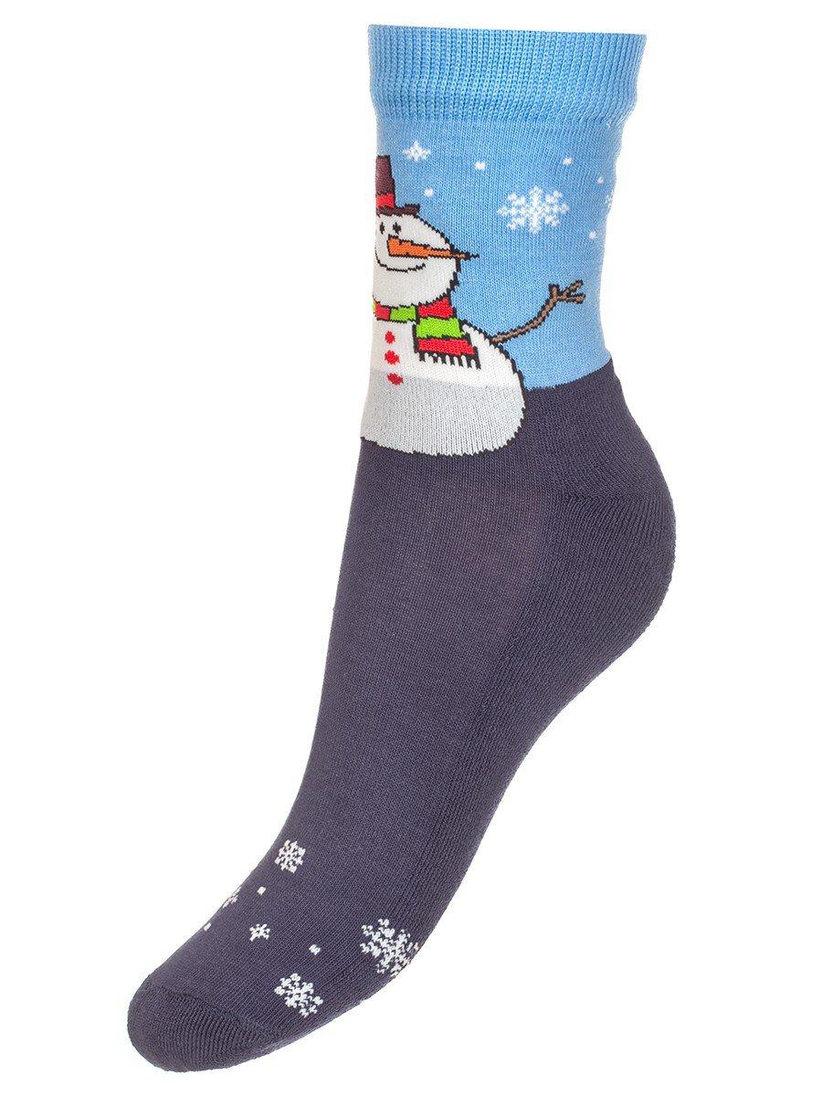 Детские зимние носки с двойным бортом плюшевым следом., цвет: темно-синий