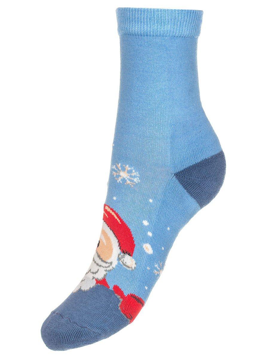 Детские зимние носки с двойным бортом плюшевым следом., цвет: голубой
