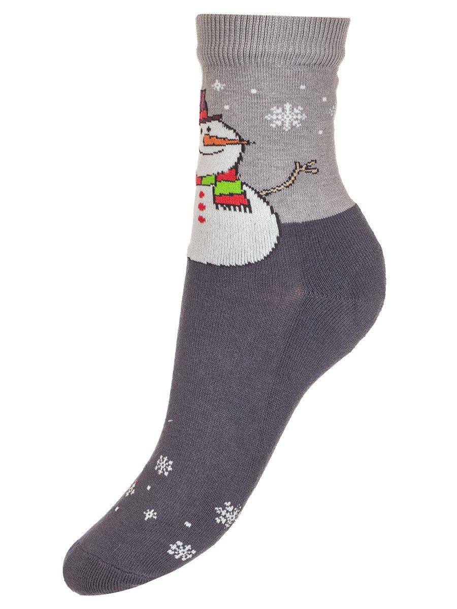 Детские зимние носки с двойным бортом плюшевым следом., цвет: темно-серый