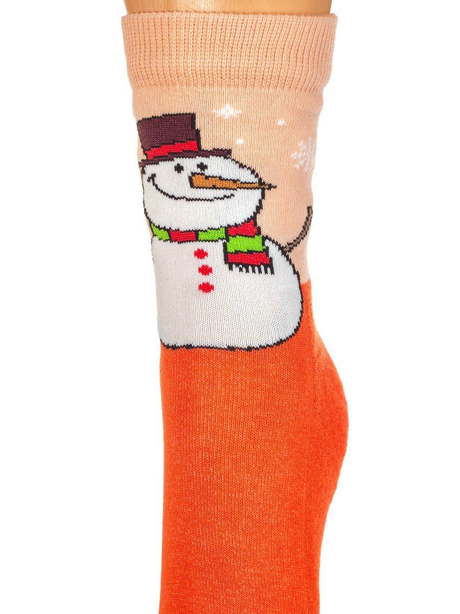 Детские зимние носки с двойным бортом плюшевым следом., цвет: оранжевый
