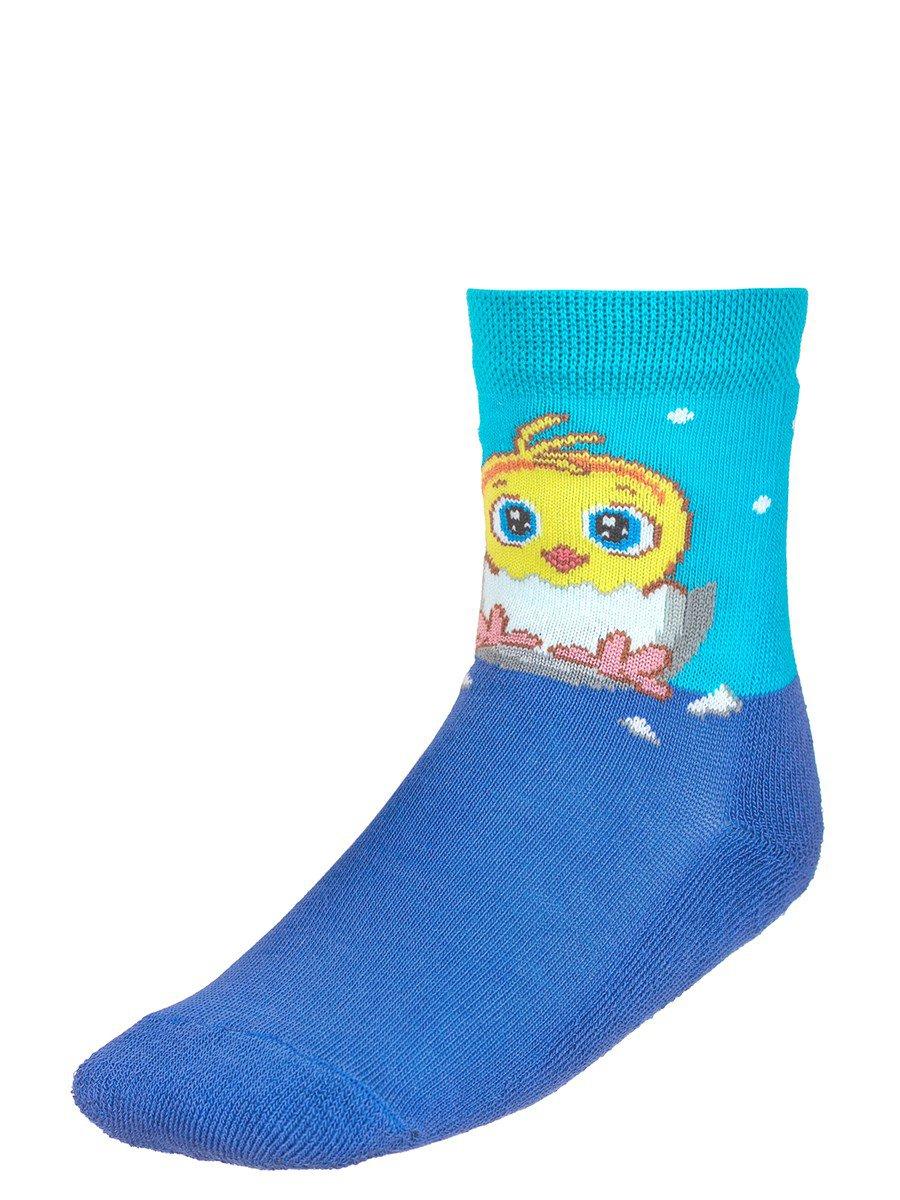 Детские зимние носки  плюшевым следом., цвет: васильковый