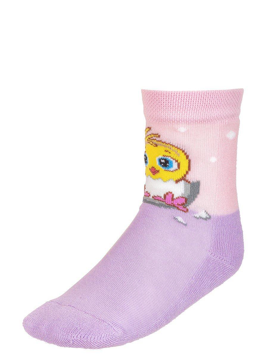 Детские зимние носки  плюшевым следом., цвет: сиреневый