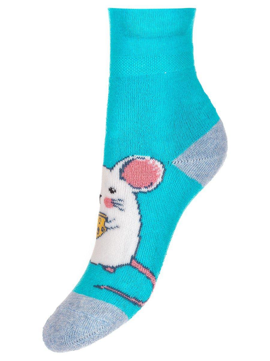 Детские носки гладкие, плюш внутри,возможен отворот, компьютерный рисунок, цвет: бирюзовый