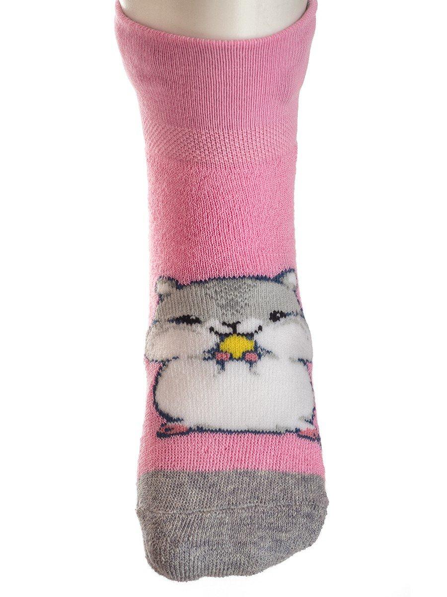 Детские носки гладкие, плюш внутри,возможен отворот, компьютерный рисунок, цвет: розовый